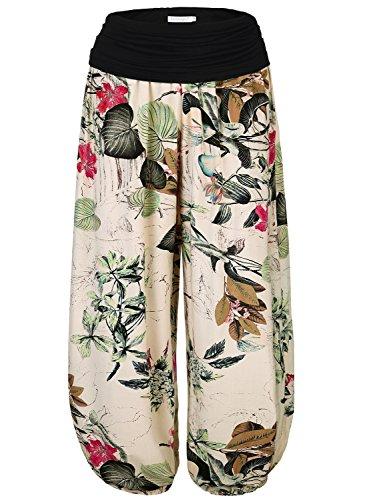BAISHENGGT Mujer Pantalones Harem con Cintura Elástica Albaricoque-Floral Talla Unica