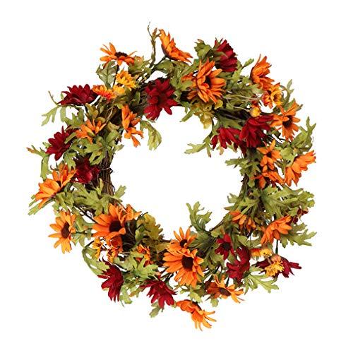 rongweiwang Corona de Flores de Colores de la Margarita Anaranjado del Girasol decoración Guirnalda de Flores decoración de la Flor Falsa Artificial para el hogar Puerta Thinksgiving