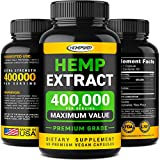 Hemp Oil Capsules 400,000 - Stress & Anxiety Relief - Made in The USA - Rich in Omega 3-6-9