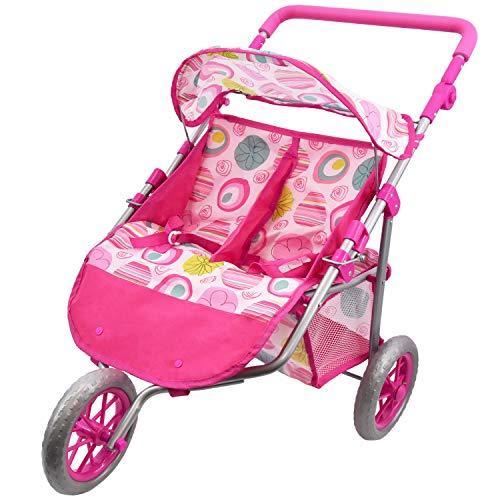 Twin Dolls Buggy Stroller Pushchair Baby Doll Pram with Storage Basket Pretend Play Girls Toy (Twin Stroller)