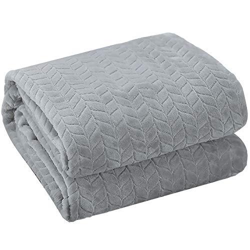 KEAYOO Manta para Sofa Reversible de Franela/Sherpa 150x200cm Cama 90 Suave y Acogedor Transpirable Ligera