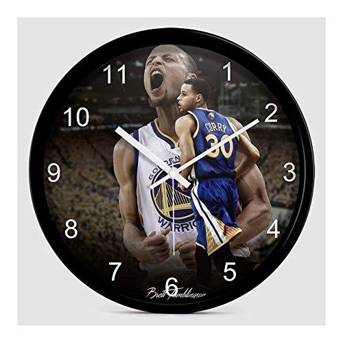 YANGYUAN NBA Wall Clock-Sports Theme Clock-Curry Wall Clock- Boy Wall Clock-Christmas Cumpleaños Regalo -Best Regalo para Fans de Baloncesto Decoración de la Pared-Batería Powered-12 Pulgada