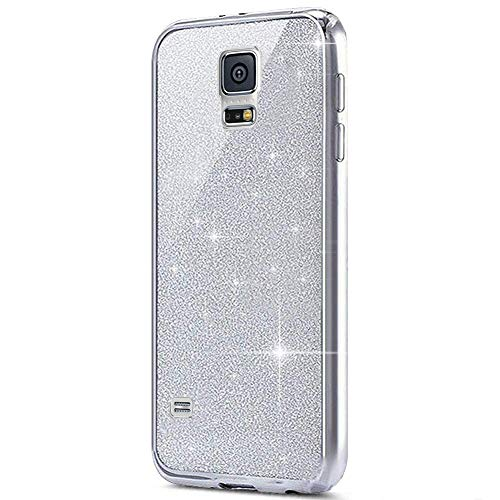 MoreChioce kompatibel mit Samsung Galaxy S5 Hülle,kompatibel mit Galaxy S5 Neo Hülle Silikon Glitzer, 2 in 1 Silber Bling Strass Paillette TPU Flexible Gel Chrom Handyhülle Kratzfeste Bumper