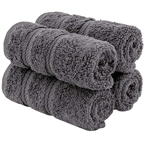 American Soft Linen Premium Turkish Genuine Cotton, Luxury Hotel Quality for Maximum Softness & Absorbency for Face, Hand, Kitchen & Cleaning (4-Piece Washcloth Set, Grey)