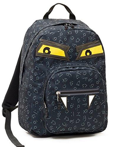 ZAINO INVICTA - OLLIE PACK FACE YAP - Nero Evil - tasca porta pc padded - scuola e tempo libero americano 25 LT