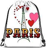 Hdadwy Mochila con cordón Cita Paris Fashion Yoga Runner Daypack Bolsas de Zapatos Sackpack String Bag