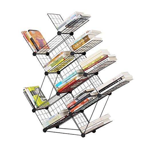 QIANGDA Estantería En Forma De Árbol Librerías Librero De Hierro Negro Libro De Piso Revistero Estantería De Exhibición De Almacenamiento, 40 X 22 X 160cm