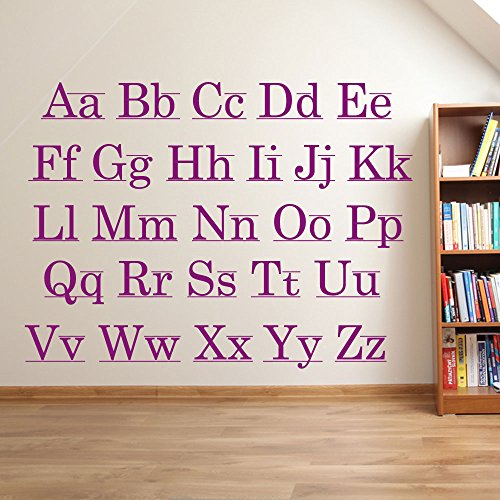 Lettres de l'alphabet enfants Chambre d'enfant salle de jeux Décoration murale fenêtre Stickers Décoration murale Stickers muraux Décoration murale Stickers muraux Stickers Autocollant mural Stickers panoramique Décor DIY Deco amovible Stickers muraux colorés stickers, Vinyle, All Purple, Taille L