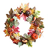 Halloween Artificial Wreath, Caso Maple Leaf Artificial Pumpkin Masquerade Props, Pumpkin Berry Maple Leaf Door Hanging Decoration,Home Hotel Mall DIY Wreath