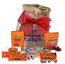 Image: Reese's Peanut Butter Cups by The Yummy Palette | Reese's peanut butter cups miniatures | Reeses gift set in Basically British burlap bag