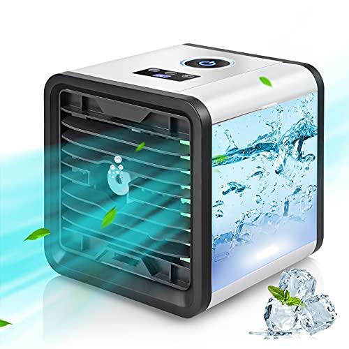 Condizionatore D'aria Portatile, Air Cooler Refrigeratore 5 in 1, Umidificatore Purificatore Diffusore di Aromi USB con 3 Velocità e 7 Colori, Adatto per l'Home Office