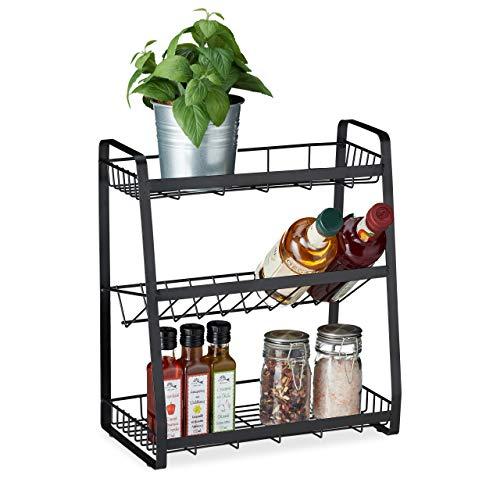 Relaxdays Gewürzregal, 3 Etagen, stehend, für Gewürze, Kräuter & Öl, Metall, Gewürzhalter, 38 x 35 x 18,5 cm, schwarz