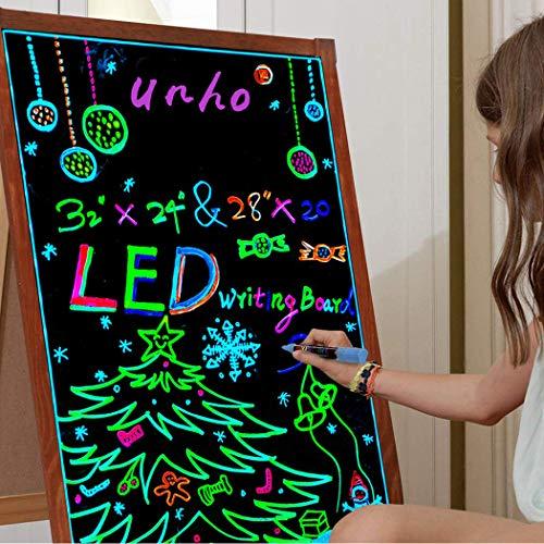 UNHO Pizarra LED Luminosa 80 x 60cm Tablero de Mensajes LED con 15 Colores y 4 Modo de Luz Pizarra Colgante con Superficie de Vidrio y Marco de Madera Incluye Control Remoto