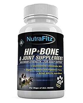 NutraFitz Hip Bone and Joint Supplement for Dogs -Glucosamine Chondroitin for Dogs MSM Organic Turmeric - Hip Dysplasia ACLs - Best Dog Joint Supplement for Joint Support - 120 Tablets