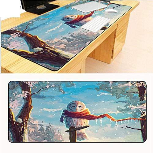 Alfombrilla de ratón extendida extra grande, diseño de búhos de bosque de nieve, invierno, tela de textura premium, base de goma antideslizante, impermeable, para escritorio, oficina, casa, 40x80cm(16X32inch)