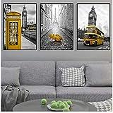 Zhaoyangeng Londres amarillo paraguas de autobús nórdico lienzo póster vintage blanco y negro pintura de la pared París decoración del hogar del coche - 50 x 70 cm x 3 cm sin marco