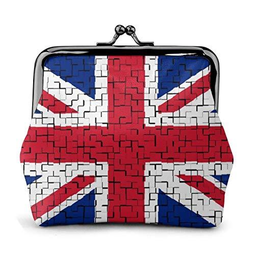 Münze Geldbörsen United Kingdom (2) Flag Puzzle Buckle Coin Purses Pouch Mini Wallet Zipper Storage Bag Kiss-Lock Change Women's Wallets Clasp