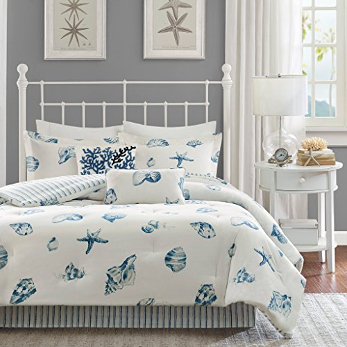 Harbor House Beach House Queen Size Bed Comforter Set - Blue, Ivory, Seashells  4 Pieces Bedding Sets  100% Cotton Bedroom Comforters
