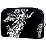 Bolso de Cosméticos Neceser de Viaje para Mujer y Niñas Organizador de Bolso Cosmético Accesorios de Viaje Estuche de Maquillaje ala de Angel Negro 18.5x7.5x13cm