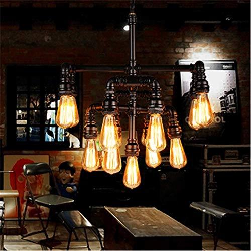 Chandelier Ceiling Light Steampunk Loft 13 Heads Black Wrought Iron Water Pipe Pendant Lighting E2720.4 Inch for Living Room Bar Restaurants Coffee Shop Club steampunk buy now online