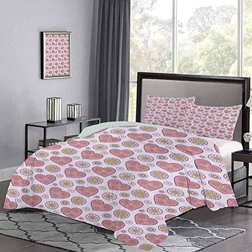 Yoyon Bettbezugherzen mit Paisley-inspirierten Motiven auf dekorativ gepunktetem Hintergrund Leichter Tröster-Koffer Set Weich, attraktiv, leicht zu bekommende Steppdecke in lila Baby Pink Pale Mauve