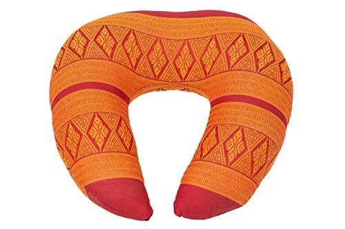 Coussin pour le cou (Appui Tête), Rembourrage de Kapok, Thai Design traditionnel, rouge-orange