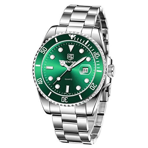 BENYAR Reloj de Cuarzo para Hombre Analógica Minimalista Esfera Resistente al Agua 30m Correa de Acero Inoxidable de 24 CM Elegante Regalo para Hombres