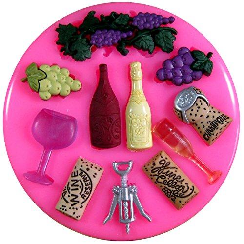 Amateurs de vin tire-bouchon champagne raisins en verre moule en silicone Moule pour décoration gâteau glaçage pour gâteau Sugarcraft outil de fées Blessings