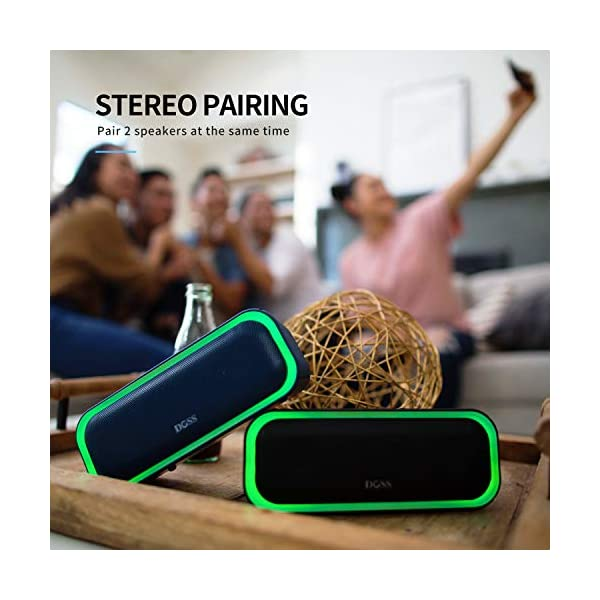 Portable Wireless Bluetooth Speaker with 20W Stereo Sound, Active Extra Bass, Wireless Stereo Paring, Multiple Colors Lights, Waterproof IPX5, 10 Hrs Battery Life 6