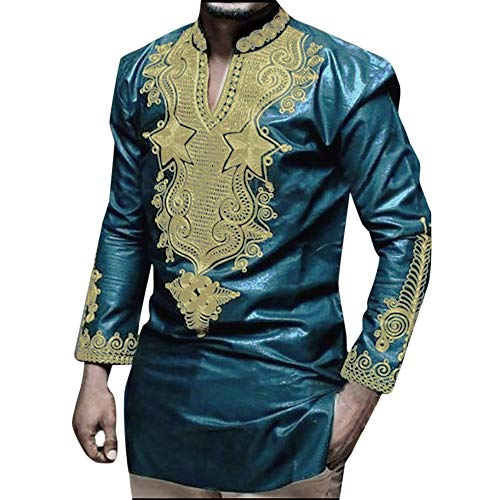 Best Price Mlide Mens Casual Slim Fit African Print Dashiki T Shirt Fashion Floral Party Blouse Tops