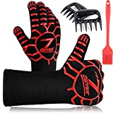 3 in 1 BBQ Gloves, Heat Resistant Grill Glove, 1472°F s Oven Gloves, Kitchen Cooking Oven Mitts, Non-Slip Hot Glove with Meat Shredder Claws & Sauce Basting Brush for Grilling, Baking, Barbeque