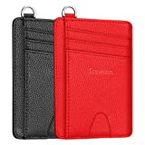 EcoVision Slim Credit Card Holder, 2 Pack RFID Blocking Wallets for Men Women (Red & Black)