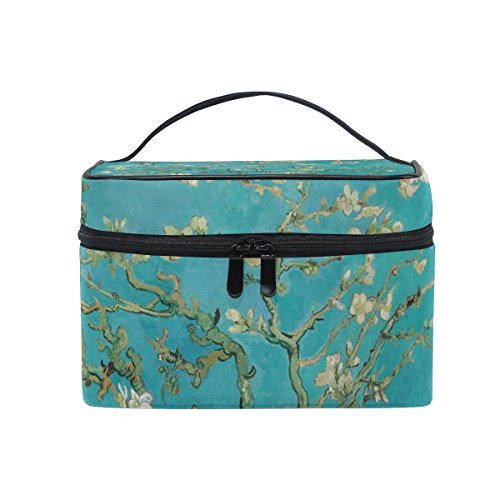 KUWT Van Gogh Plum Blossom Women Travel Cosmetic Bag Portable Makeup Train Case Toiletry Bag Beauty Organizer