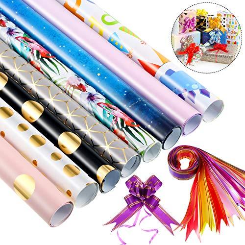 8 Stücke 50 x 70 cm Geschenkpapier und 12 Stücke Bunte Schleifen für Geburtstag, Braut Dusche, Baby Dusche, Weihnachten und Mehr