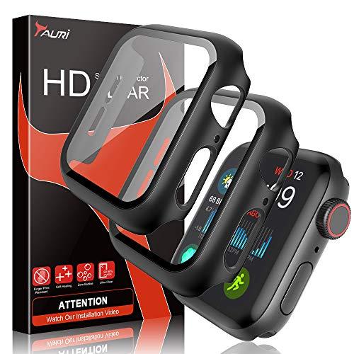 TAURI [2 Stück Hülle Mit Panzerglas Displayschutz Für Apple Watch 40mm Series 5/4, 360° Rundum Schutzhülle, Ultradünne PC Hardcase für iWatch 40mm
