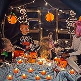 12 Pcs Kürbis Teelichter Kerzen,3D Halloween Kürbis Lichter,Kürbis Kerzen Flammenlose,Halloween Teelicht Deko Pumpkin,LED Flammenlose Kerzen für Halloween Deko,Hochzeit Party, Weihnachten(Smiley) - 4