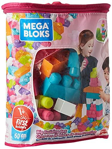 Mega Bloks Juego de construcción de 60 piezas, bolsa ecológica rosa, juguetes bebés 1 año (Mattel DCH54)