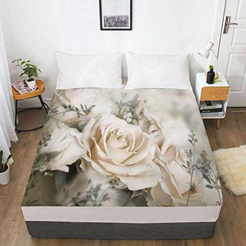 NVJR 3D Fitted Sheet Custom Single Double King Size Mattress Cover With Elastic Bed Sheet 180x200 Bedding Rose Microfiber Drop Ship,Flower 013-White-F,135x200 Deep 30cm