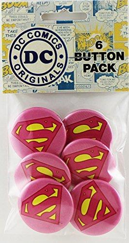 Button set DC Comics Originals Sparkle Supergirl Logo 6 Individual Loose Buttons, 1.25'