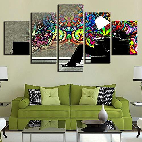 Kunstwerk HD Drucke Dekoration Leinwand Malerei Abstrakte 5 Stücke Wandkunst Modulare Für Bett Hintergrundbild Poster-Mit rahmen