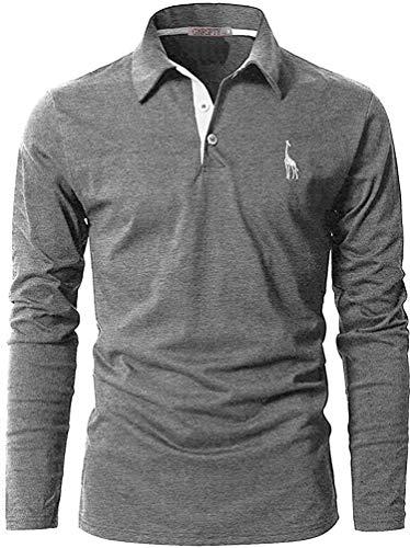 GNRSPTY Polo Manga Larga Hombre Algodon Slim Fit Camiseta Colores de Contraste Bordado de Ciervo Deporte Basic Golf Negocios T-Shirt Top,Gris,XXL