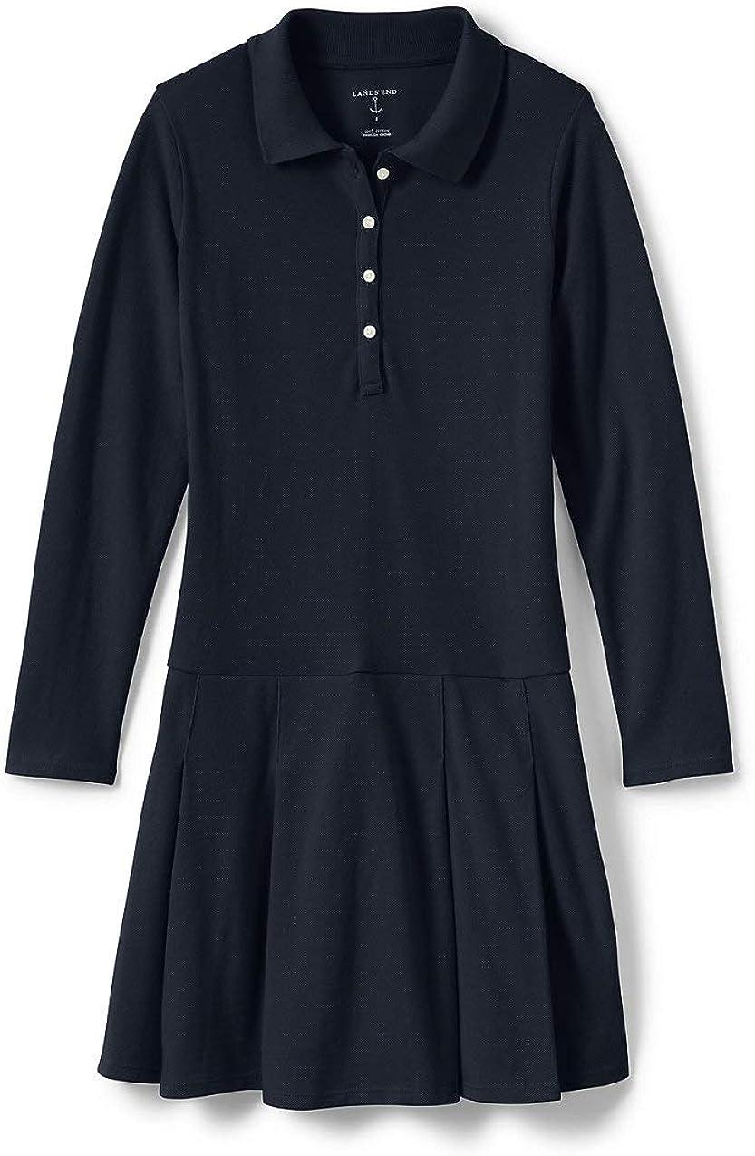 Lands' End School Uniform Girls Long Sleeve Mesh Polo Dress