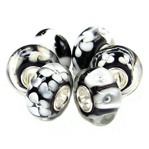 Queenberry Pacchetto di perline in vetro per ciondolo, in argento Sterling, stile europeo, colore: bianco e nero