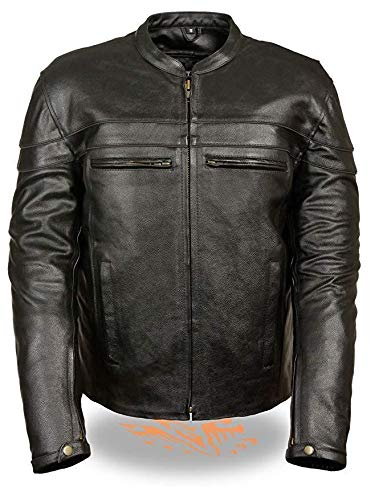 Milwaukee Leather LKM1725 Mens Black Sporty Crossover Scooter Leather Jacket with Gun Pockets with Gun Pocket - X-Large