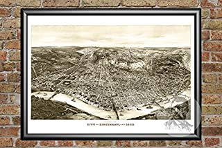 Ted's Vintage Art Cincinnati Ohio 1900 Map Wall Art Print   Museum Quality Matte Paper   Ideal for Home & Kitchen Decor   Digitally Restored Historic Lithograph Poster 24