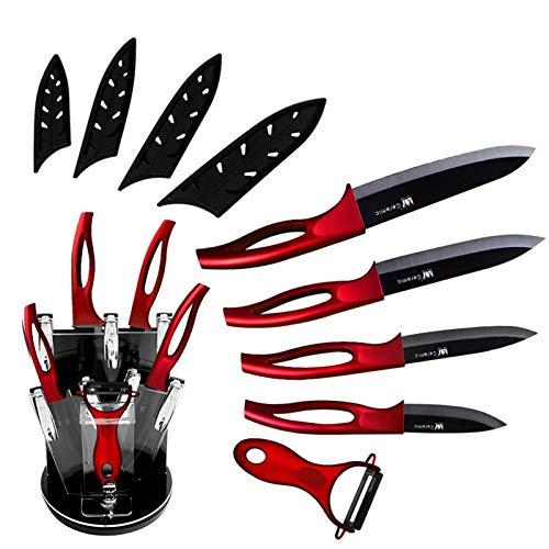 Cuchillos de cerámica Conjunto de cubiertos Cuchillos de cocina 3'Paring 4' Utility 5'Slicing 6' Chef Cuchillo + Bloque + Peeler Black Blade Cutter (Color : Red 6 Pcs Set)
