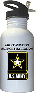 601st Aviation Support Battalion - US Army White Stainless Steel Water Bottle Straw Top, 1022
