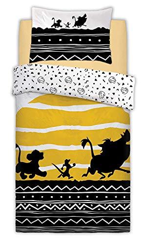 Lion King Disney-Parure de lit simple avec housse de couette réversible et taie d'oreiller
