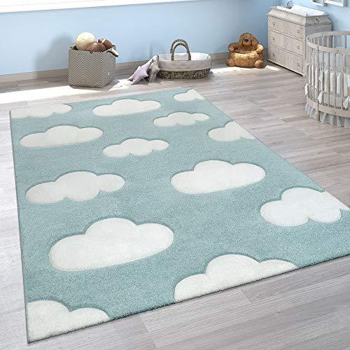 Tappeto per Cameretta dei Bambini Grazioso Colori Pastello Motivo con Nuvole Pelo Corto in Blu e Bianco, Dimensione:80x150 cm