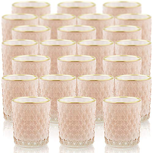 SHMILMH - Portavelas de cristal rosa con línea dorada, juego de 24 portavelas a granel, portavelas votivo, portavelas de té para...
